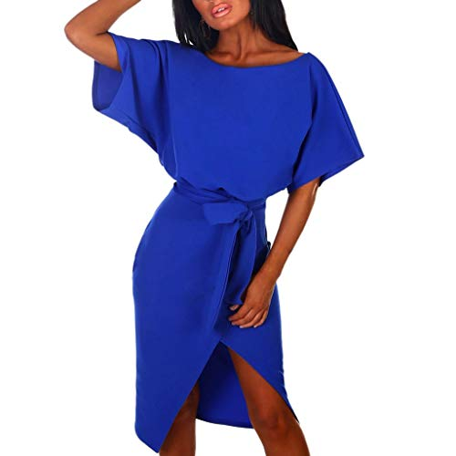 Women's V-Neck Striped Pinstripe Flounce Dip High Low Hem Split Wrap Dress Blue