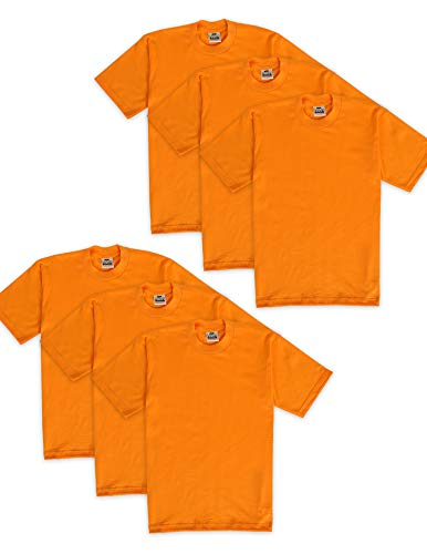 Pro Club Men's 6-Pack Heavyweight Cotton Short Sleeve Crew Neck T-Shirt, Orange Tangerine, Small