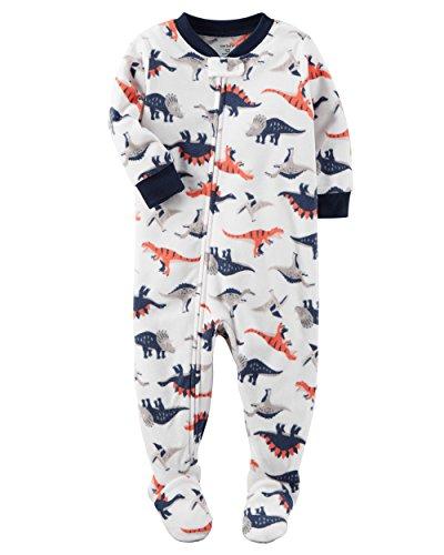 Carter's Boys' 12M-12 One Piece Dino Fleece Pajamas White 2T