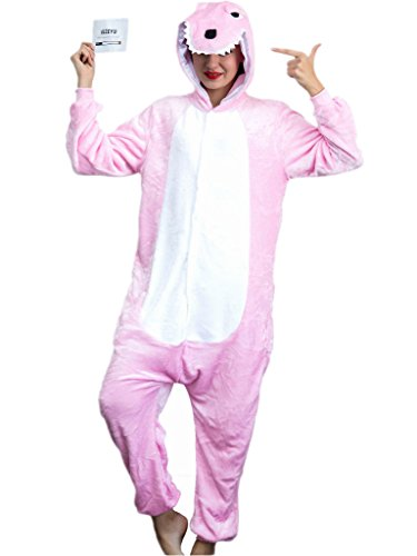 iSZEYU Adult Pajama Dinosaur Christmas Costumes Onesies for Women Men Teens Girls (Christmas Womens Costumes)