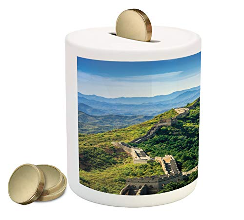 (Ambesonne China Piggy Bank, Great Wall of China in a Summer Day Jinshanling Section Near Beijing Photo, Printed Ceramic Coin Bank Money Box for Cash Saving, Green Beige and Blue)