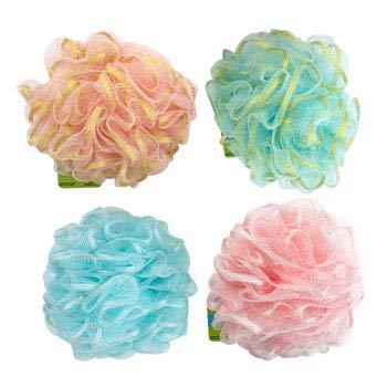 Bath Sponge W/Glitter Ribbon 50G 4AST Styles in 36PC Acetate, Case Pack of 36