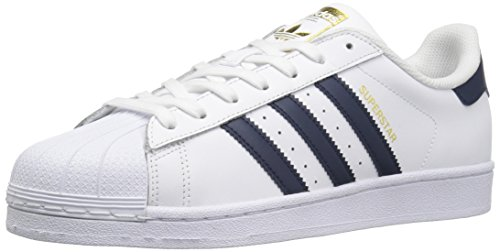 Adidas Originali Mens Superstar Casual Sneake Bianco / Blu Scuro / Metallizzato / Oro
