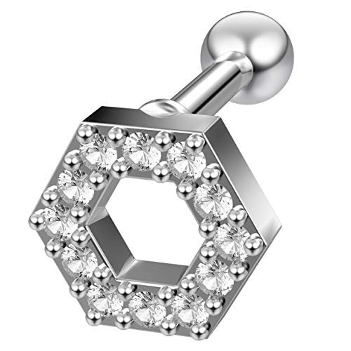 16g Hexagon Helix Cartilage Earring Piercing Tragus Stud Crystal Surgical Steel Jewelry ()