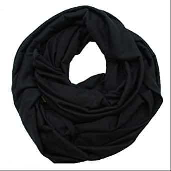Elegant Solid Color Infinity Loop Jersey Scarf (black)