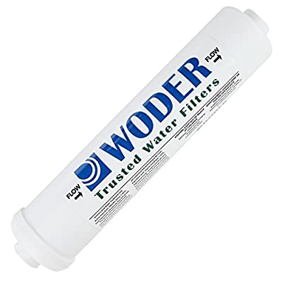 """Woder 10K-JG Ultra High Capacity Ice Machine / RV / Inline Refrigerator Water Filter - Commercial / Residential Filter With 1/4"""" or 3/8"""" Quick-Connect JG - 3Years or 10,000gal - USA Made"""