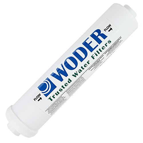 "Woder 10K-JG-3/8 Ultra High Capacity Inline Water Filter – 3 Years or 10K Gals – USA Made – With 3/8″ Built-in (Welded) JG Fittings – Fits All Unbraided 3/8"" PVC or 1/4"" PEX"
