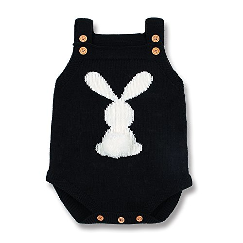 mimixiong Baby Romper Easter Bunny Knit Outfit Sling Clothes (6-12Months, Black)