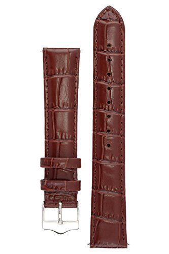 Signature Tropico in dark brown 22 mm watch band. Replacement watch strap. Genuine leather. Silver Buckle (Embossed Brown Leather Dark)