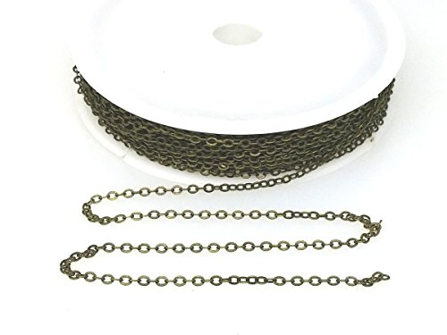Small Link Chain 2.1 x 1.7mm Dangling Chain, Bronze Plated Brass 32 feet