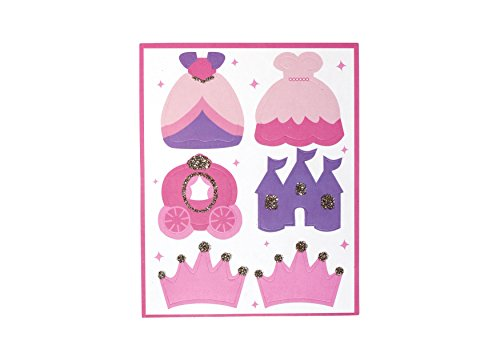 Once Upon a Time- Sticker Set | Set of 2 | | Princess, Dress, Tiara, Castle | Gold Glitter | Kids' Stationery | Party Favor Glitter Stationery Set