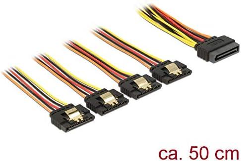 Schwarz//Rot DeLock Kabel SATA 15Pin Stecker 4X SATA 15Pin Buchse
