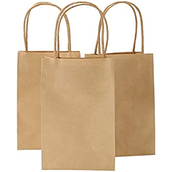 100 Brown Kraft paper shopping bags Flower Print quality wholesale 8x4x10 Cub