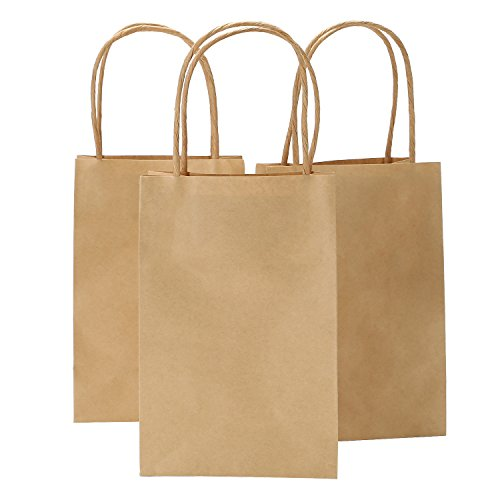 Road 5.25x3.25x8 Inches 50pcs Kraft Brown Paper Bags with Handle, Retail Shopping Bag, Craft Paper Bag, Merchandise Bag, Gift , Party ()