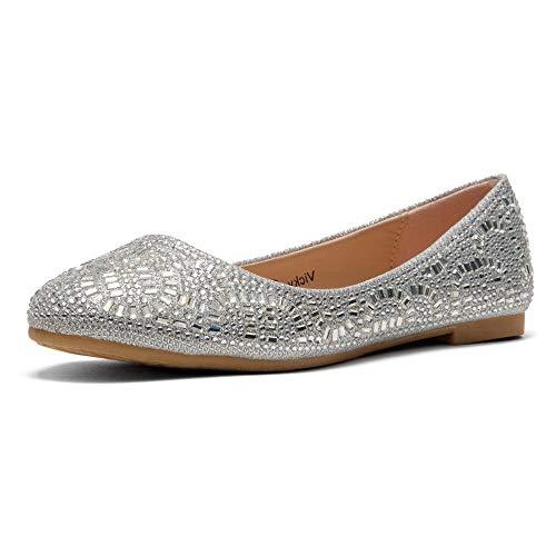 Herstyle Women's Vicky Round Toe Jeweled Embellishments Rhinestone Ballet Flats Shoes