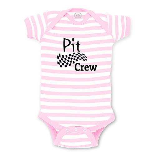 Cute Rascals Pit Crew Short Sleeve Envelope Neck Boys-Girls Cotton Baby Fine Stripes Bodysuit - White Soft Pink, 6 Months (F1 Kids Costume)