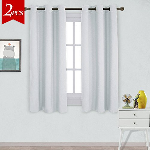 NICETOWN Window Treatment Thermal Insulated Grommet Room Darkening Curtains Drapes for Bedroom(2 Panels,42 by 63,Platinum-Greyish White) (Discount Window And Treatments Curtains)