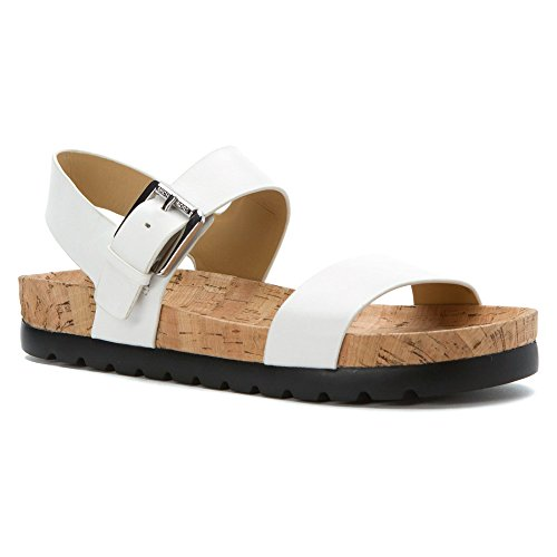 MICHAEL Michael Kors Women's Judie Sandal Optic White Leather/Cork 11 M by Michael Kors