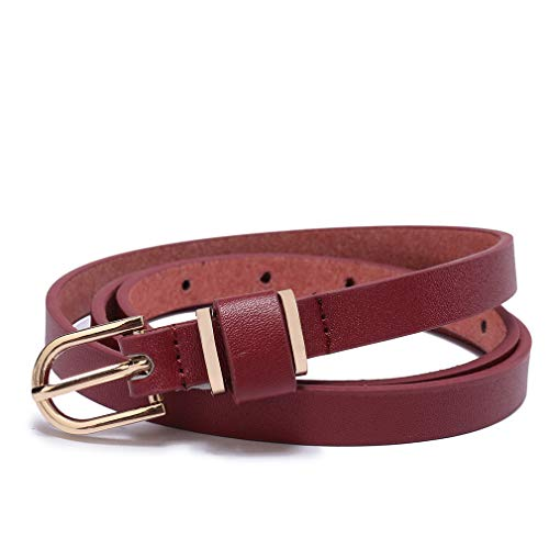 (Set of 5 Women's Skinny Leather Belt Solid Color Waist or Hips Ornament 10 Sizes (34-36, Red 1/2