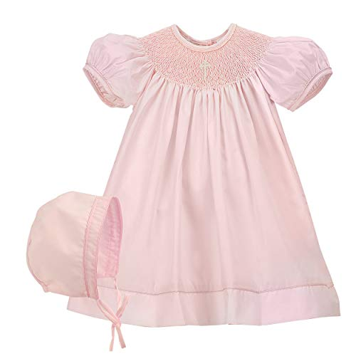 Baby Girl Hand Smocked Christening/Baptism Pearl Cross Bishop Dress with Bonnet - Pink, 3M