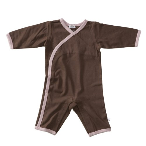 Babysoy Long Sleeve Kimono One Piece Coverall Chocolate/Petal 12-18 Months