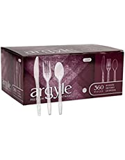Clear Plastic Cutlery | Heavy Duty & Solid Disposable Silverware Utensils Set | Perfect for Weddings, Buffets, Luncheon & More | 180 Forks, 120 Spoons & 60 Knives Combo Pack | 360 Count