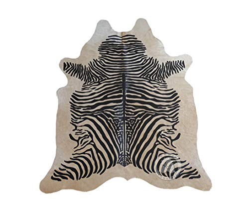 Sunshine Cowhides Zebra Cowhide Rug Animal Print Black Stripes On Beige - Top Quality
