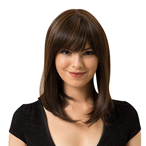 Human Hair Brown Colored Ombre Wig for Women Long Wavy Hair Heat Friendly Girl Cosplay Costume Side Parting with Root (a)]()
