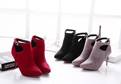 10cm Tobillo Strap de Boots 40 Tobillo Las Botas de Toe boda Botas hueco punta vestir Eu Seude Martin 34 Scarpin Black Botas mujeres Tamaño ZxawqzrZ