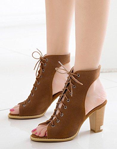 Sandales Peep Toes Daisun Pour Femme - Chaussures Empilables Élégantes À Lacets - Gladiateur Talon Haut Cheville Haute Bronzée