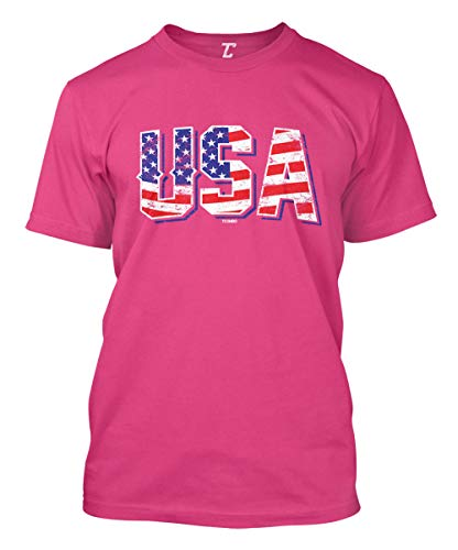 - USA - Retro American Flag Stars & Stripes Men's T-Shirt (Pink, XXX-Large)