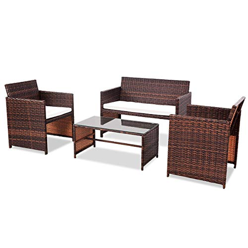 Goplus Rattan Sofa Furniture Set Outdoor Garden Patio 4-Piece Cushioned Seat Mix Brown Wicker