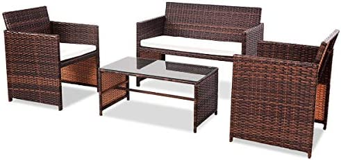 picture of Goplus Rattan Sofa Furniture Set Outdoor Garden Patio 4-Piece
