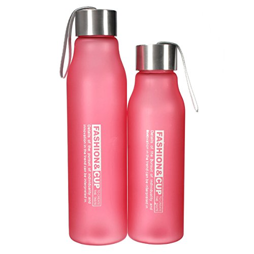 Sports Camping Traveling Portable Frosted Water Bottle ,Color: Pink