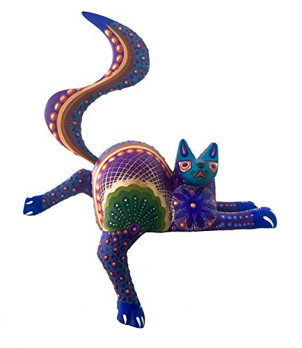 Mexican Alebrije Cat Wood Carving Handcrafted Shelf Sitter Sculpture (Purple)