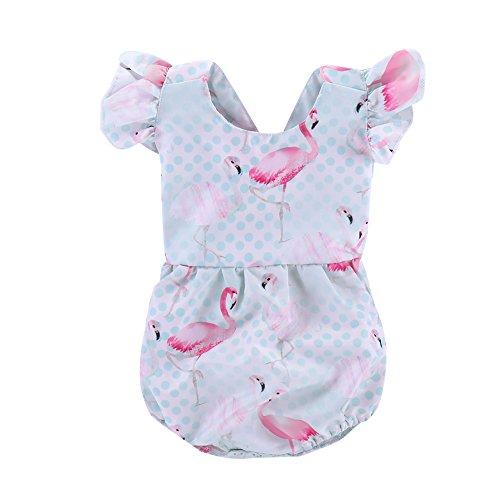 Seaby Baby Girls Toddler Polka Dot Ruffle Flamingo