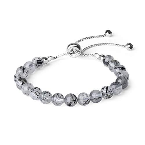 - COAI Womens 925 Sterling Silver Black Quartz Rutilated Stone Slider Bracelet