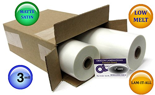 LAM-IT-ALL Low Melt Laminating Film 12-inch x 250-feet x 1-inch core (2 Rolls) 3.0 Mil matte-satin