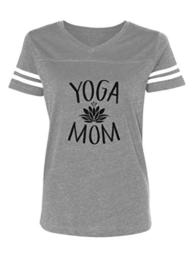 Yoga Mom for Yoga Lovers Women Football Jersey T-Shirt Large Gray/White
