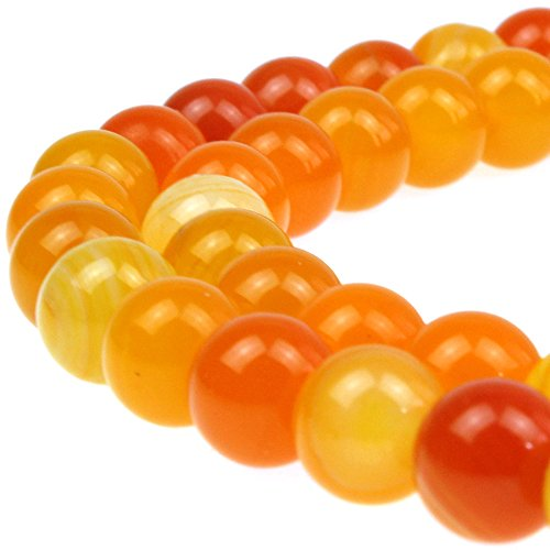 JARTC Natural Stone Beads Orange Stripe Agate Round Loose Beads for Jewelry Making DIY Bracelet Necklace (6mm)