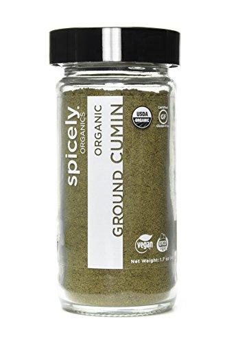 Spicely Organic Cumin Seeds Ground - Glass Jar - Gluten Free - Non GMO - Vegan - Kosher