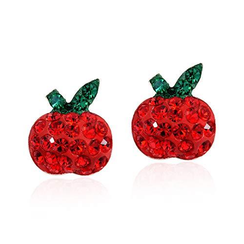 Plump Red Apple Cubic Zirconia .925 Sterling Silver Stud Earrings
