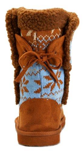 Malo-1 Sweater Top Faux Sheepskin Winter Booties Boots Camel