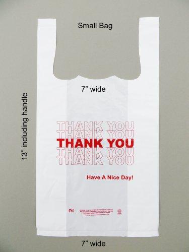 Plastic Bag- Small Economy 'Thank You' White T Shirt Bag 7'x3.5'x13' 13 mic - 1000 bags/case