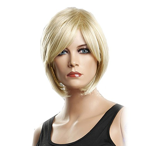 GOOACTION High-end Hot Sale Golden Oblique Bangs Short Wigs Women Wigs Synthetic Wigs Human Hair Wig Front Lace Wig -