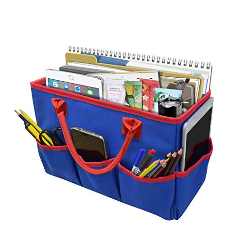 Godery Desktop File Folder Tote and Stock Organize, Fundamentals Art Organizer Storage Craft Tote Bag for Office Desk Organize, Make-up Storage Tote with Handles for Travel or Daily Use, Red - File Caddy