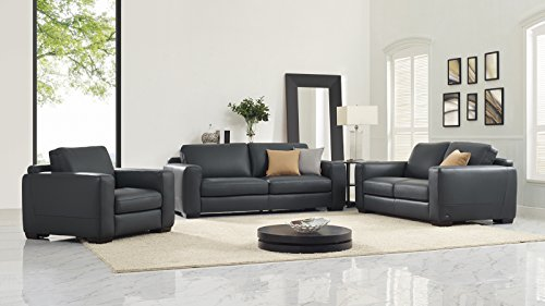 Natuzzi Mattia Stationary Leather Sofa, DK Grey 20JIDream