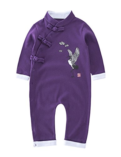 May's Baby Toddler Chinese Traditional Buckle Long Sleeve Jumpsuit Onesie Outfit