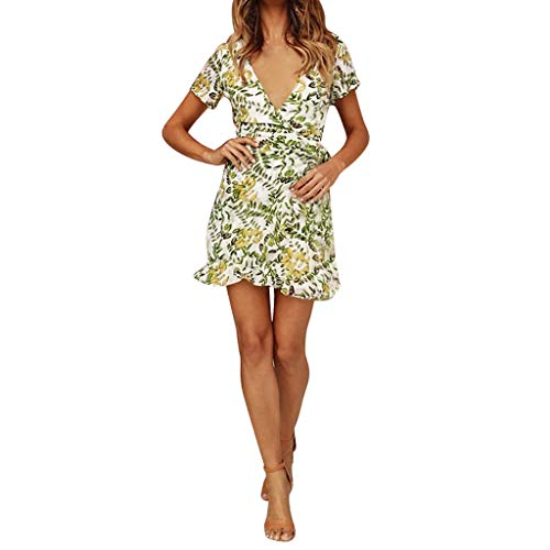 TOTOD Women's Sexy Dress, Summer Boho Floral Print V Neck Minidress Short Sleeve Bandage Evening Party Dress