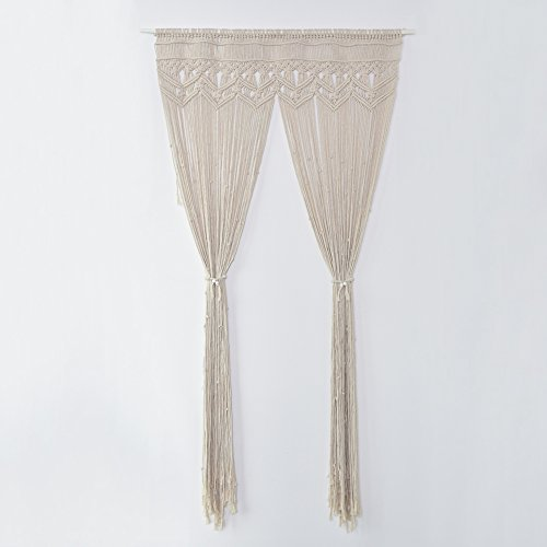 Samber Hand-Knitted Macrame Wall Hanging Tapestry Hand-Woven Door Curtain Handcrafted Window Curtain Tapestry Wedding Party Backdrop Decoration Living Room Bedroom Decoration/J by Samber